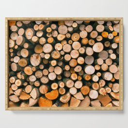 Stack of Firewood Serving Tray