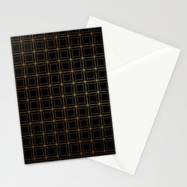 Black and Gold Octagonal Squares Geometric Stationery Cards