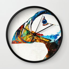 Colorful Puffin Art By Sharon Cummings Wall Clock