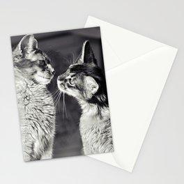 Cute cats who are curious about each other! Stationery Cards