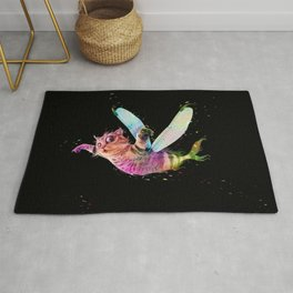 Psychedelic colorful flying catfish Rug