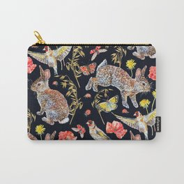 Bunny Meadow Pattern - Dark Carry-All Pouch