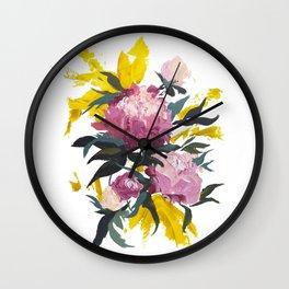 pivoine violette avec jaune Wall Clock