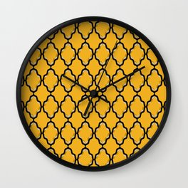 Black Diamond and Gold Grid Wall Clock