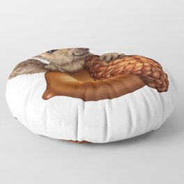 Funny Squirrel Holding An oak tree Acorn Floor Pillow