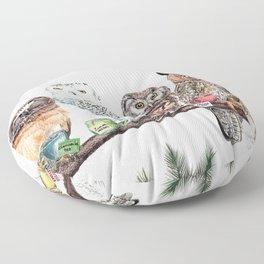 Tea owls , funny owl tea time painting by Holly Simental Floor Pillow