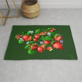 Paint dries slow (green background) Rug