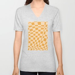 Abstract clementine mosaic tile Unisex V-Neck