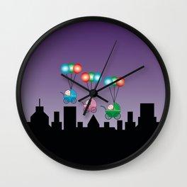 Baby Buggies on Balloons Wall Clock