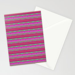 Aztec Tribal Motif Pattern in Pink, Lime and Fuchsia Stationery Cards