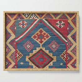 Vintage Woven Kilim // 19th Century Colorful Royal Blue Yellow Authentic Classic Ornate Accent Patte Serving Tray