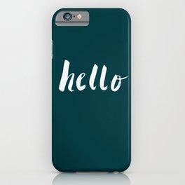 Hello x Dark Turquoise iPhone Case