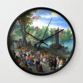 "Jan Brueghel the Elder ""People dancing on a river bank"" Wall Clock"