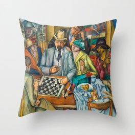 Chess Players, Paris, France, French Cafes, Left Bank, 1913 by Henryk Hayden Throw Pillow