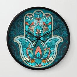 Hamsa Hand of Fatima, good luck charm, protection symbol anti evil eye Wall Clock