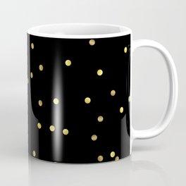 Gold Confetti on Black Coffee Mug