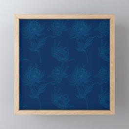 Ocean Blue Dahlia Flowers Framed Mini Art Print