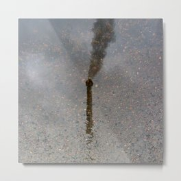 Factory Chimney  Reflection in Water Metal Print