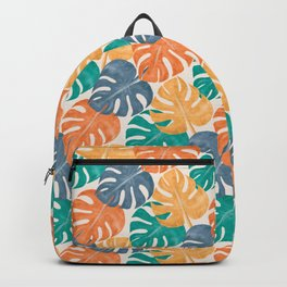 Colorful Tropical Monstera Deliciosa Plant Leaves, Modern Abstract Hand-painted Watercolor Botanical Pattern in Mint, Indigo, Ochre and Mustrad Colors Backpack