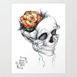 Skull with Flowers Growing out of Head Art Print