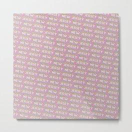 New Jersey, USA Trendy Rainbow Text Pattern (Pink) Metal Print