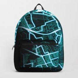 Groningen, Netherlands, Blue, White, Neon, Glow, City, Map Backpack