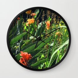 Exotic Garden With Glorious Majestic Flowers Wall Clock
