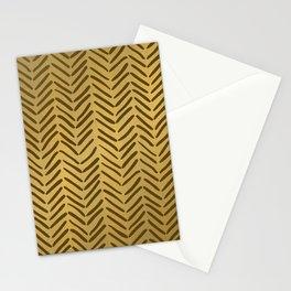 GOLDEN HERRINGBONE I Stationery Cards