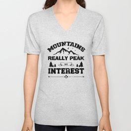 Mountains Really Peak My Interest bw Unisex V-Neck