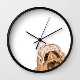 Labradoodle portrait peeking dog portrait cute art gifts for dog breed lovers Wall Clock