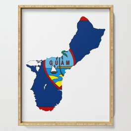 Guam Map with Guamanian Chamorro Flag Serving Tray
