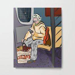 Subway Sketches Artist Metal Print
