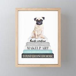 Pug, Books, Fashion books, Gray, Teal, Fashion, Fashion art, fashion poster, fashion wall art, Framed Mini Art Print