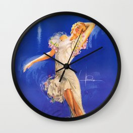 """""""Rhapsody in Blue"""" Pinup by Rolf Armstrong Wall Clock"""
