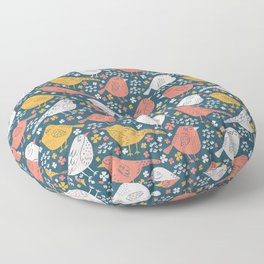 Bird Song Yellow & Pink Floor Pillow