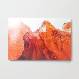 texture of the orange rock and stone at Antelope Canyon, USA Metal Print