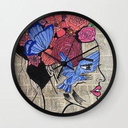 Whimsical News Girl Wall Clock