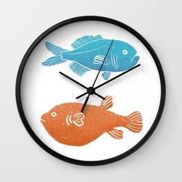 Deep Sea Fish - Orange and Turquoise Wall Clock