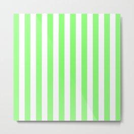 Vertical Stripes (Light Green & White Pattern) Metal Print