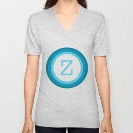 Blue Letter Z Unisex V-Neck