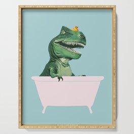 Playful T-Rex in Bathtub in Green Serving Tray