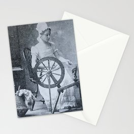 Colonist with spinning wheel, 1800s photograph Stationery Cards