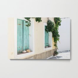 "Travel Photography ""Windows with green shutters and plants"" in typical street in Naxos island, Greece. Fine art photo print in pastel color. Metal Print"
