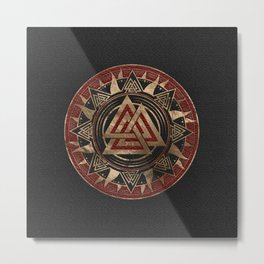 Valknut Symbol Black and Red Leather and gold Metal Print