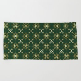 Indian Golden Lotus Harmony Mandala Pattern with Classy Green background color Beach Towel