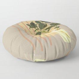 Green Leafed Plant Inside Vase, Sun Reflection Scene Floor Pillow