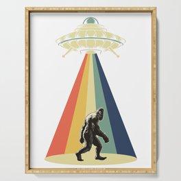 Retro Vintage 1970 1960 UFO Alien Space Conspiracy Big Foot Bigfoot Tees Serving Tray