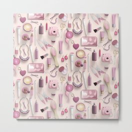 Pink Vanity Table Metal Print