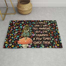 Alice In Wonderland Magical Colorful Night Quote Rug
