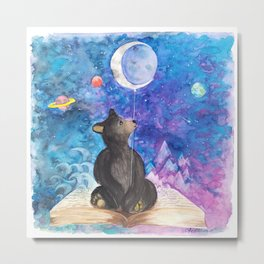 Surreal Bear Cub with Moon Balloon, Books and Imagination Metal Print